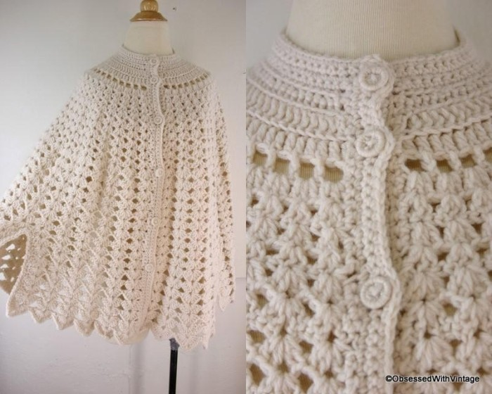 Crochet Patterns Capes : Crochet Shawl Pattern Crochet Cape Free Vintage Crochet Pattern LONG ...