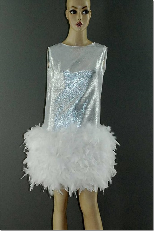 0d8bfd9062a Vintage 1960s silver dropped-waist party dress with a mini-skirt of fluffy