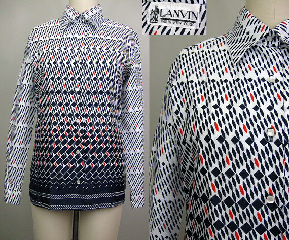 Vintage 1970s op art print button down shirt from Threadhunter on etsy. $35