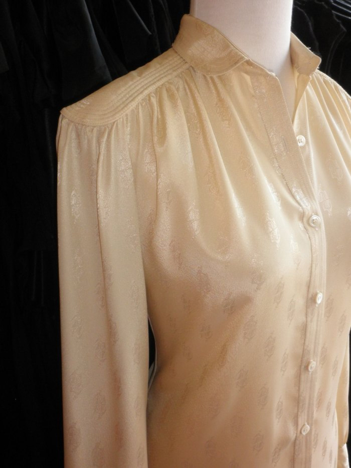 Vintage 1970s Lanvin creamy shirtdress in a satiny print (look closely to see this great pattern and detail) from verybestvintage on etsy. $62.