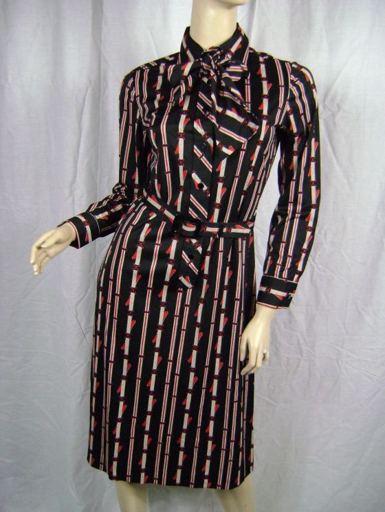 Vintage 1970s Lanvin equestrian-print, shirtdress with matching neck tie and belt, purchased on eBay for $25.